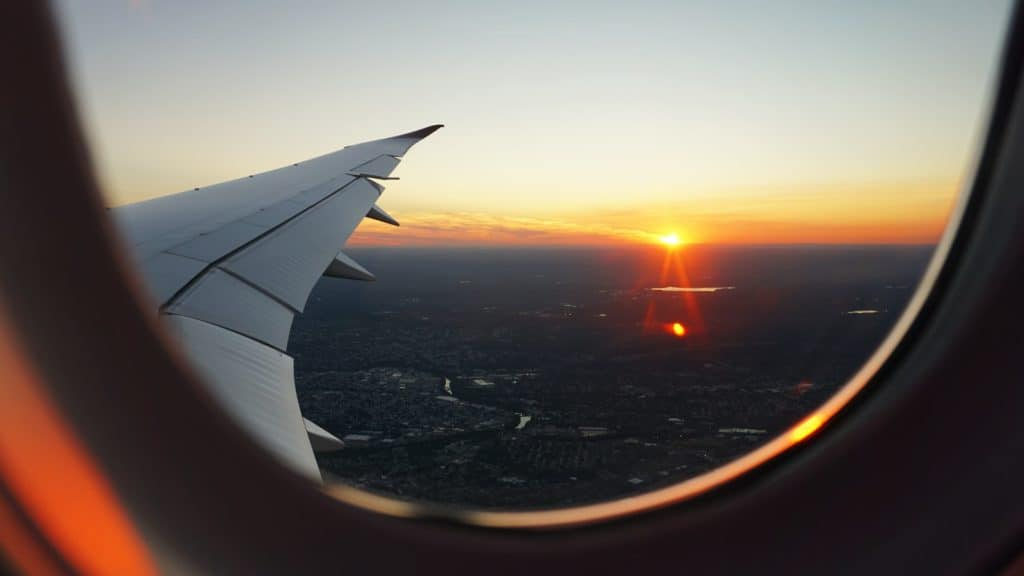Sunset looking outside the Airline Window